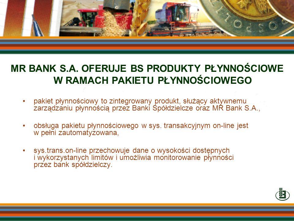 MR BANK S.A. OFERUJE BS PRODUKTY PŁYNNOŚCIOWE W RAMACH PAKIETU PŁYNNOŚCIOWEGO