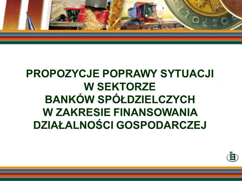 PROPOZYCJE POPRAWY SYTUACJI W SEKTORZE BANKÓW SPÓŁDZIELCZYCH