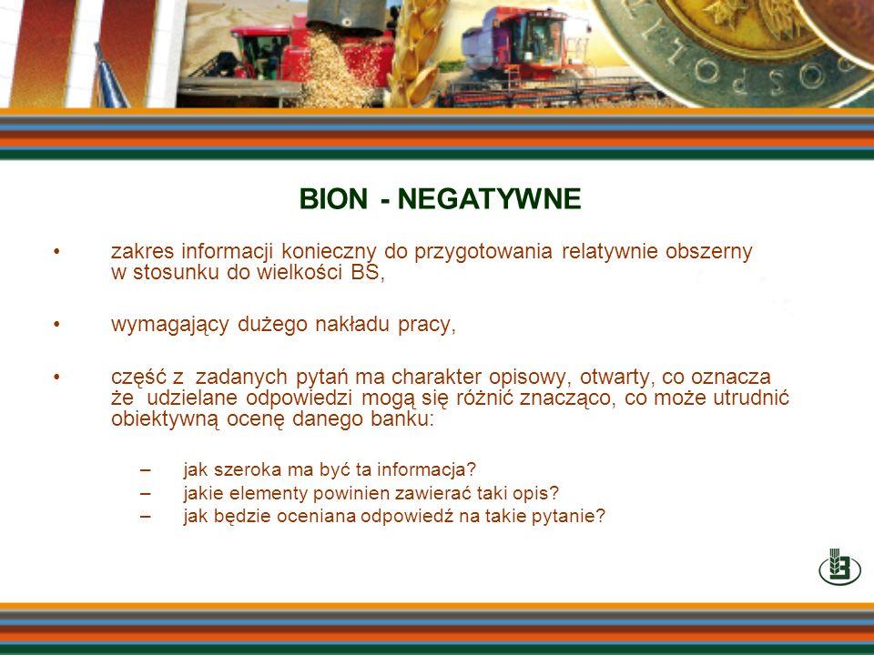 BION - NEGATYWNEzakres informacji konieczny do przygotowania relatywnie obszerny w stosunku do wielkości BS,