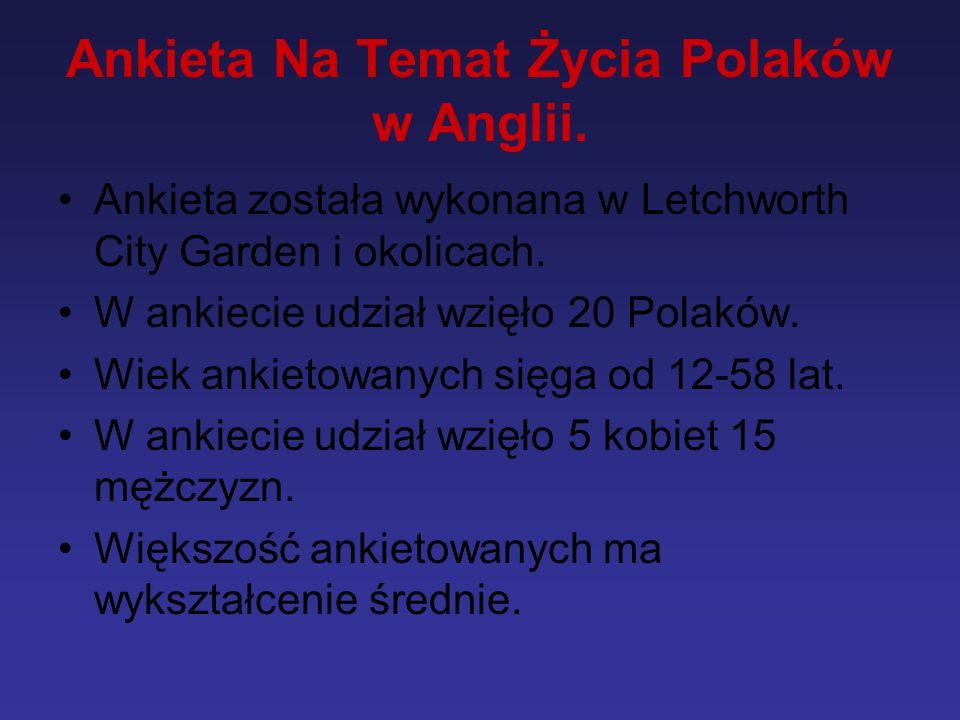 Ankieta Na Temat Życia Polaków w Anglii.
