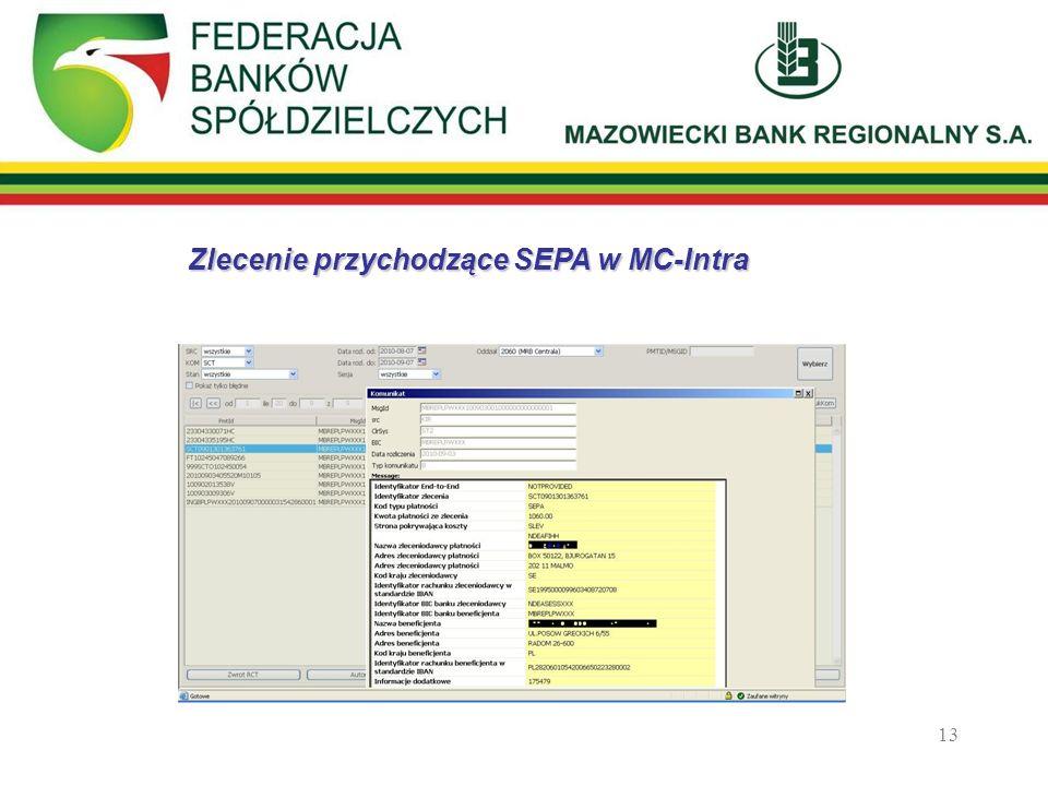 Zlecenie przychodzące SEPA w MC-Intra