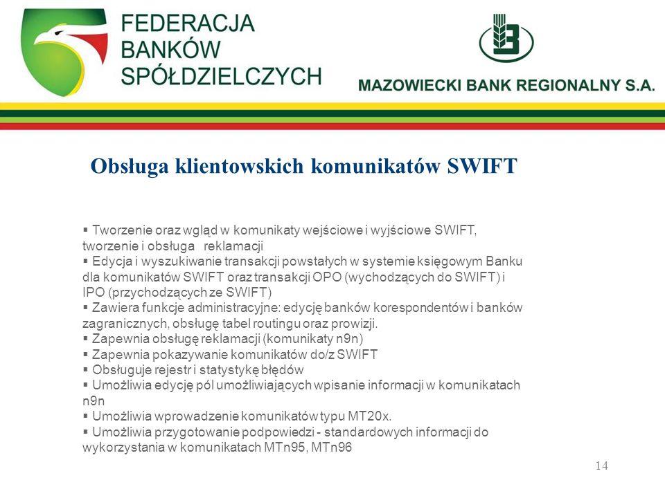 Obsługa klientowskich komunikatów SWIFT