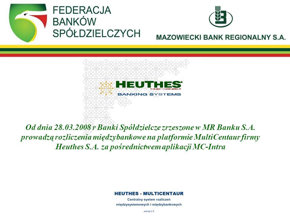 Od dnia 28. 03. 2008 r Banki Spółdzielcze zrzeszone w MR Banku S. A
