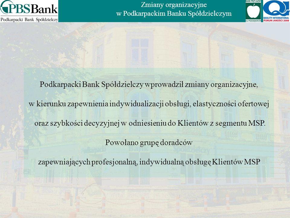 Podkarpacki Bank Spółdzielczy wprowadził zmiany organizacyjne,