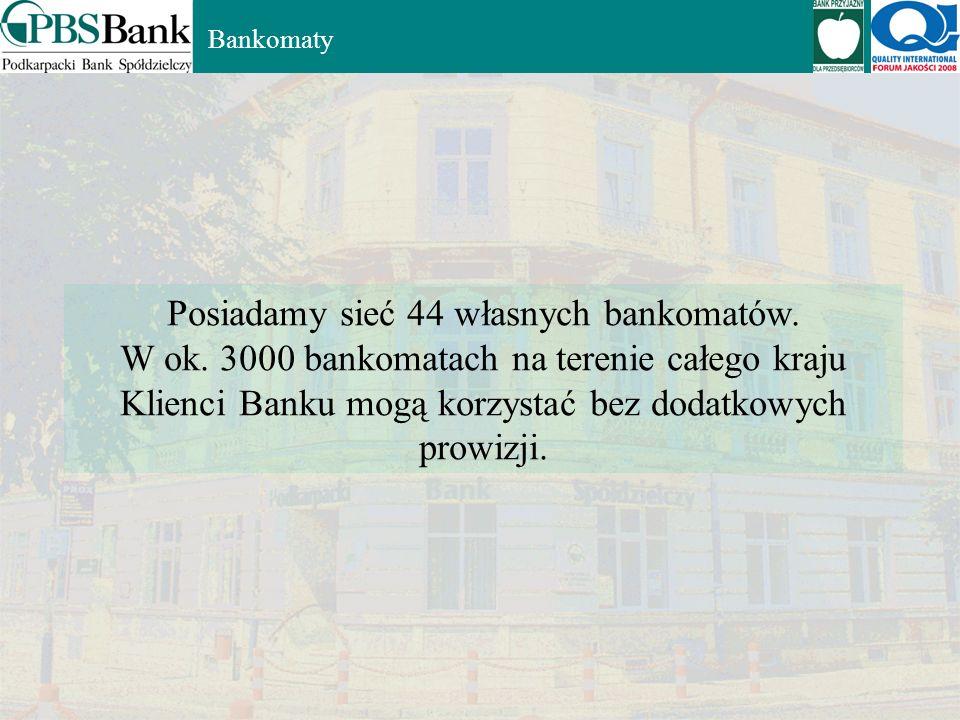 Posiadamy sieć 44 własnych bankomatów.