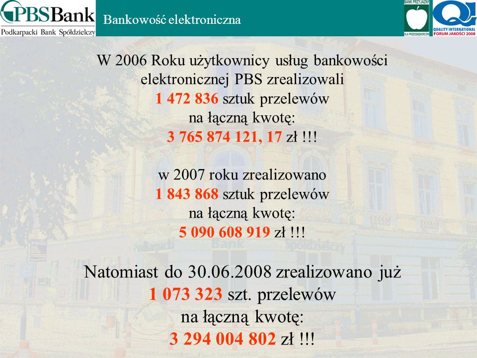 Natomiast do 30.06.2008 zrealizowano już 1 073 323 szt. przelewów