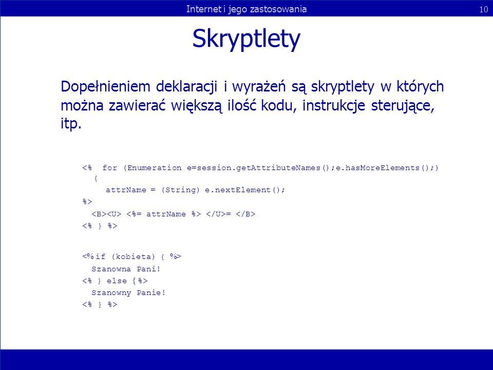 Skryptlety Dopełnieniem deklaracji i wyrażeń są skryptlety w których można zawierać większą ilość kodu, instrukcje sterujące, itp.