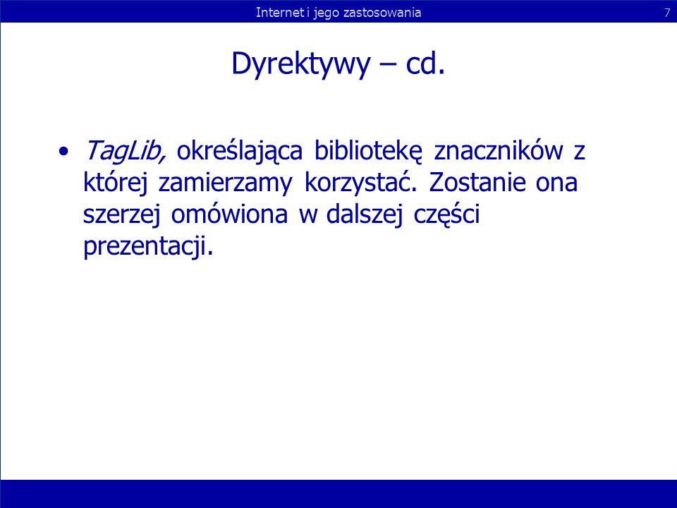 Dyrektywy – cd. TagLib, określająca bibliotekę znaczników z której zamierzamy korzystać.
