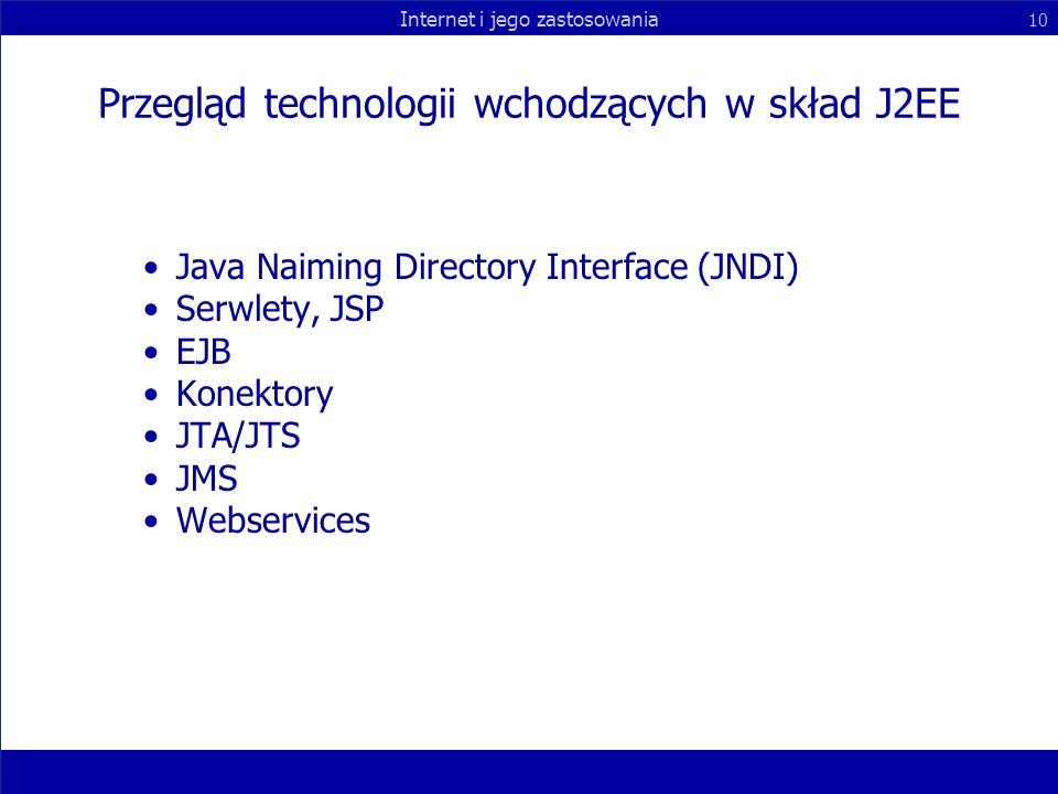 Przegląd technologii wchodzących w skład J2EE