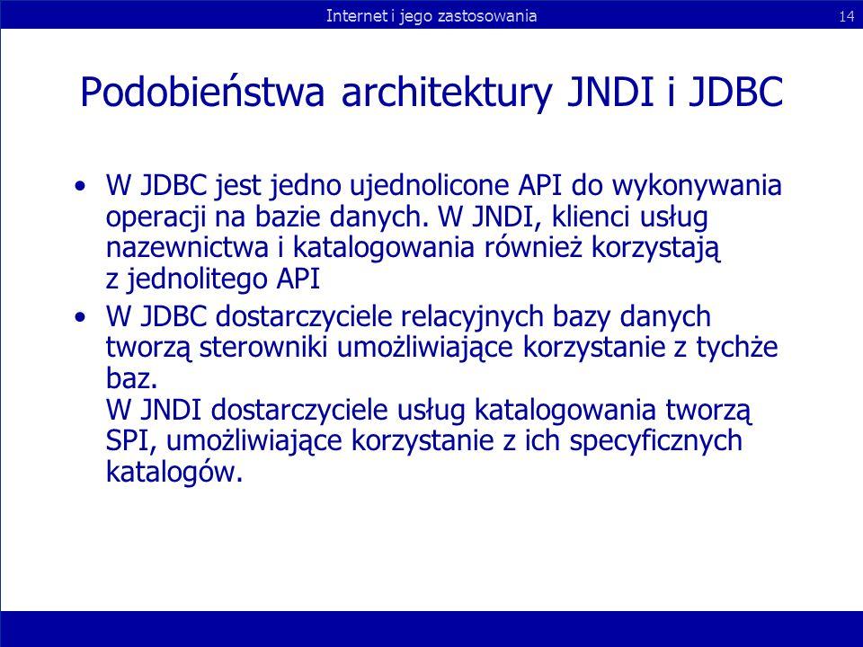 Podobieństwa architektury JNDI i JDBC