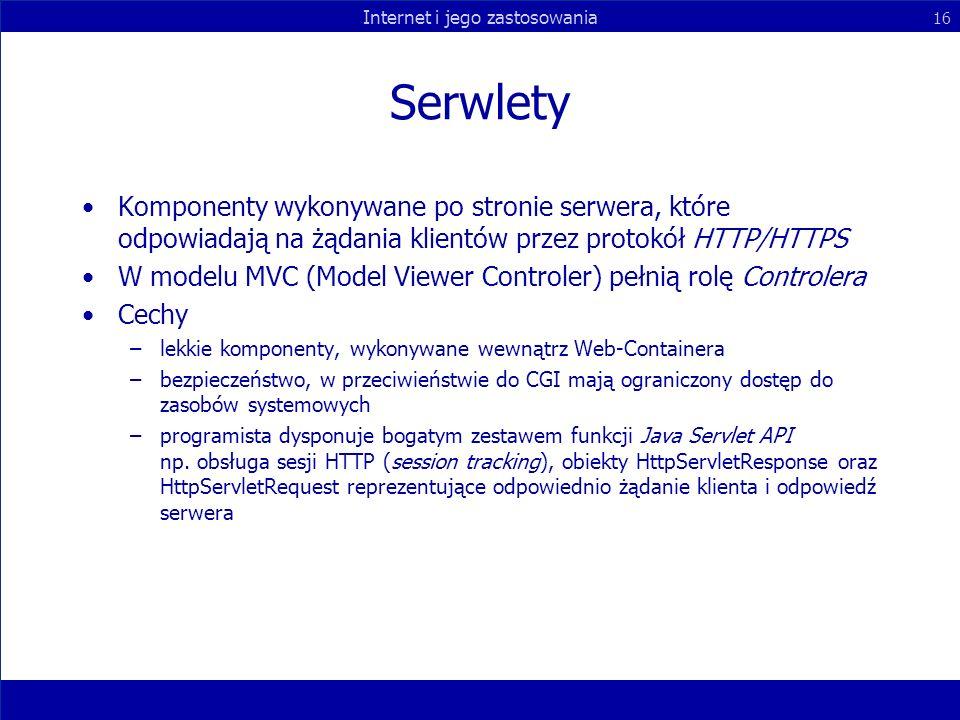 Serwlety Komponenty wykonywane po stronie serwera, które odpowiadają na żądania klientów przez protokół HTTP/HTTPS.