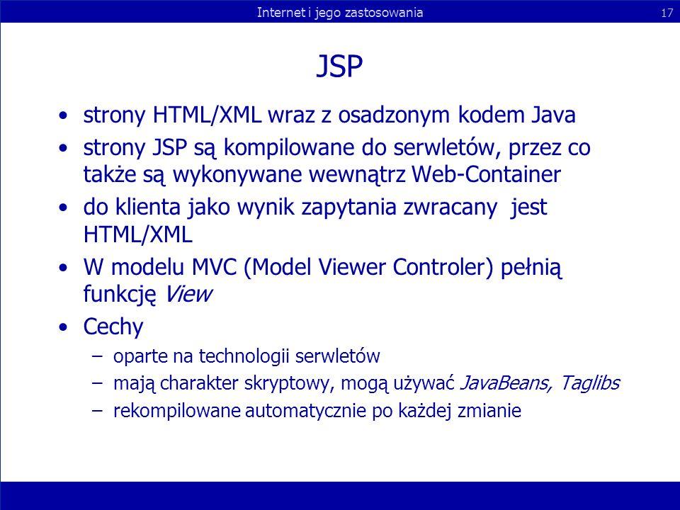 JSP strony HTML/XML wraz z osadzonym kodem Java