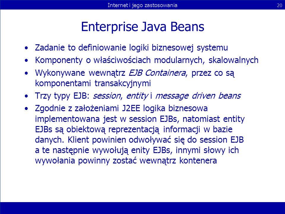 Enterprise Java Beans Zadanie to definiowanie logiki biznesowej systemu. Komponenty o właściwościach modularnych, skalowalnych.