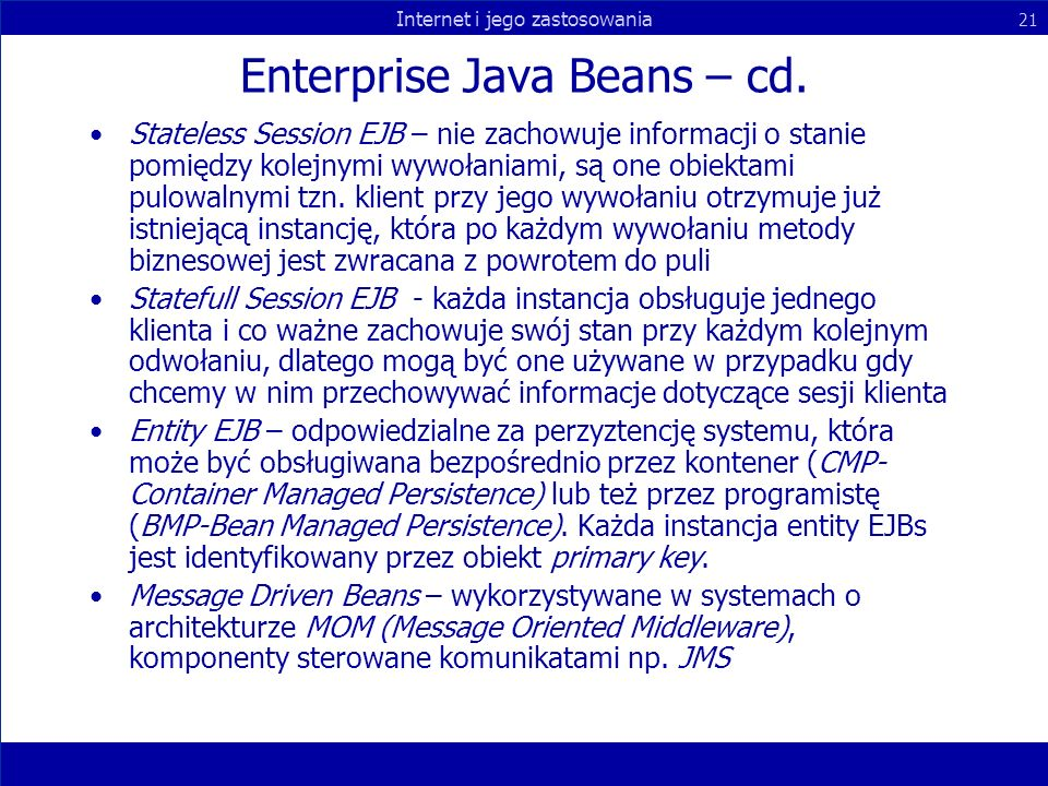 Enterprise Java Beans – cd.