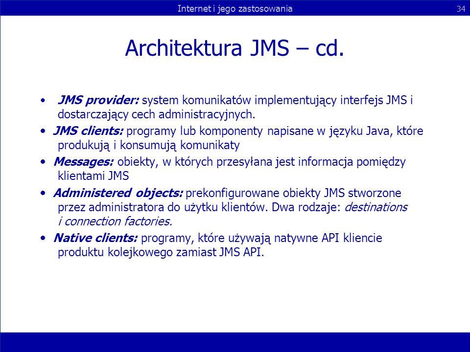 Architektura JMS – cd. JMS provider: system komunikatów implementujący interfejs JMS i dostarczający cech administracyjnych.