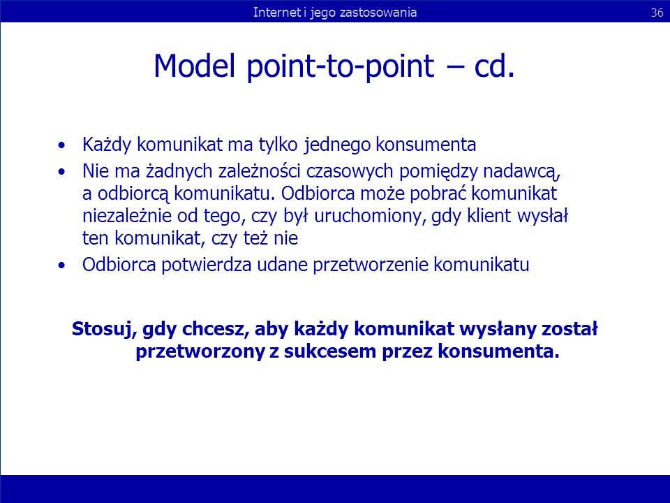 Model point-to-point – cd.