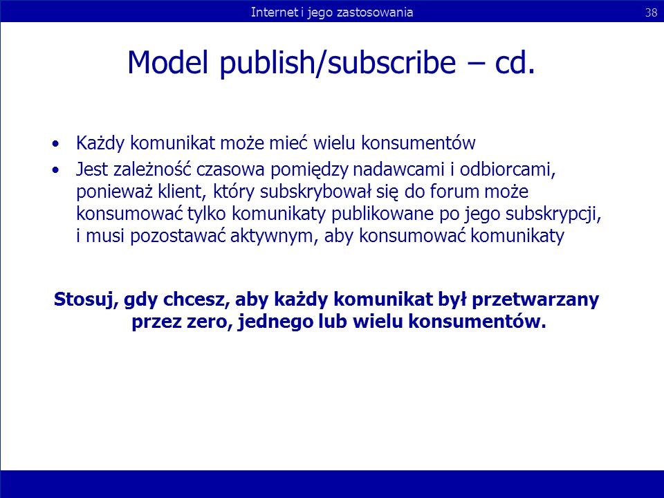 Model publish/subscribe – cd.