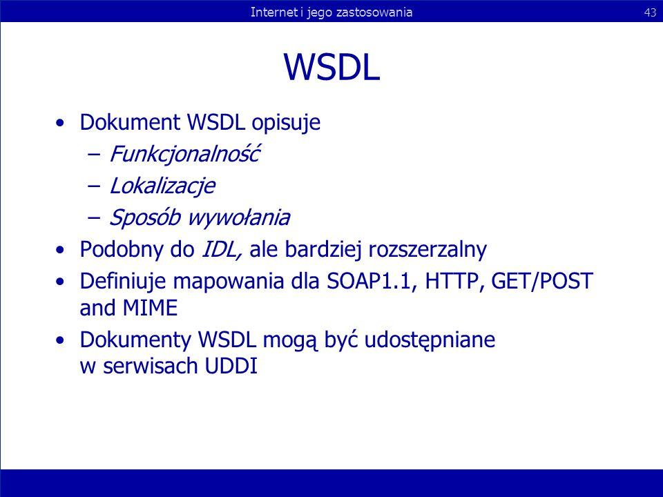 WSDL Dokument WSDL opisuje Funkcjonalność Lokalizacje Sposób wywołania