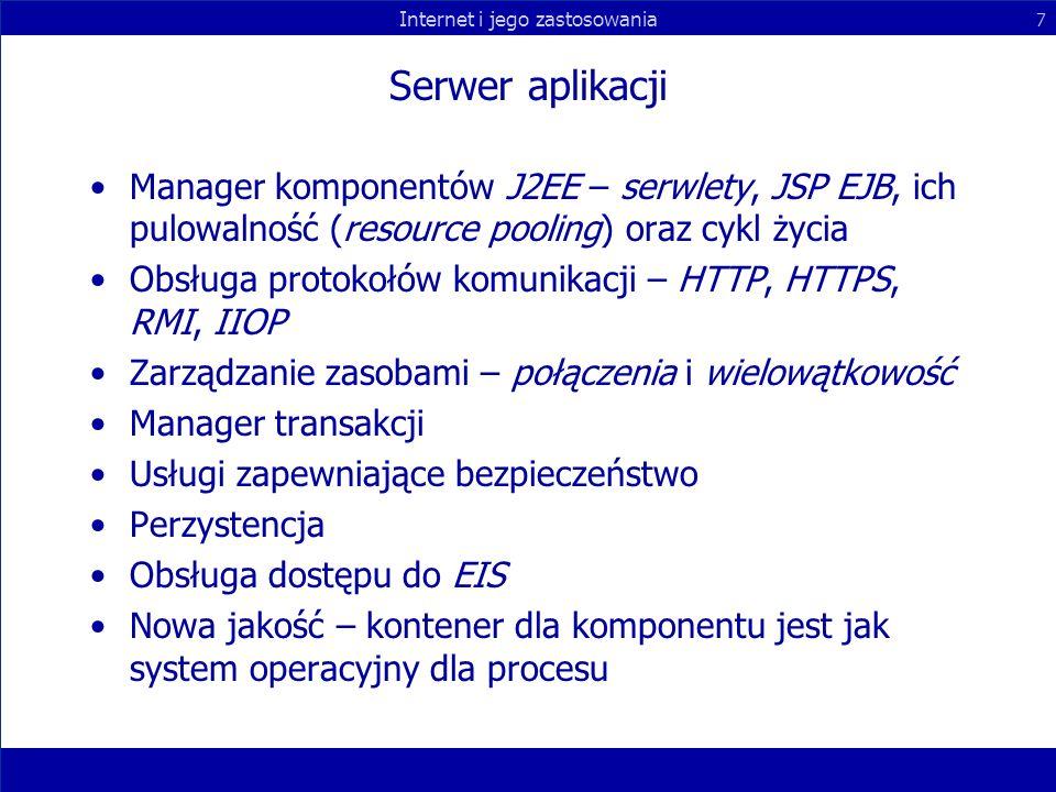 Serwer aplikacji Manager komponentów J2EE – serwlety, JSP EJB, ich pulowalność (resource pooling) oraz cykl życia.