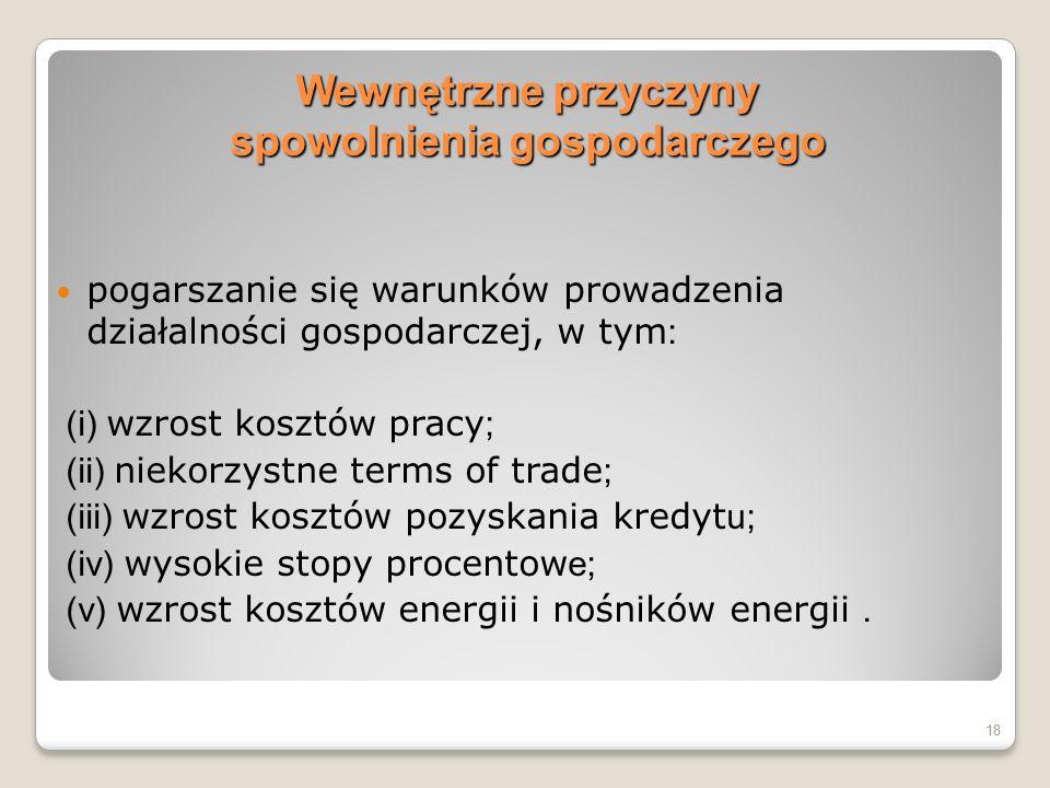 Wewnętrzne przyczyny spowolnienia gospodarczego