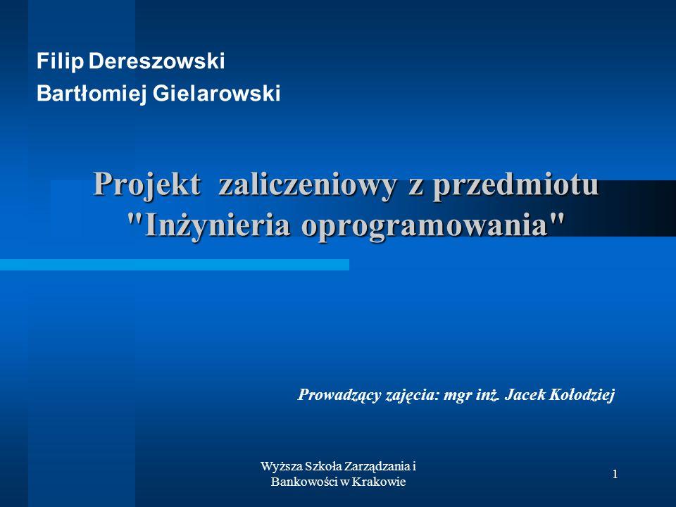 Projekt zaliczeniowy z przedmiotu Inżynieria oprogramowania