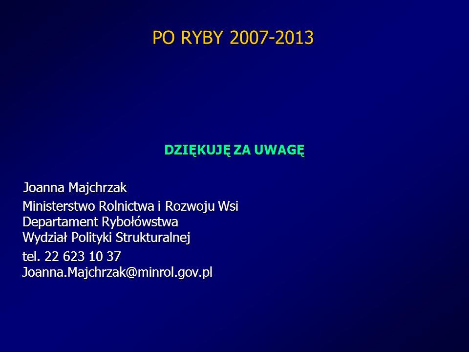PO RYBY 2007-2013 DZIĘKUJĘ ZA UWAGĘ Joanna Majchrzak