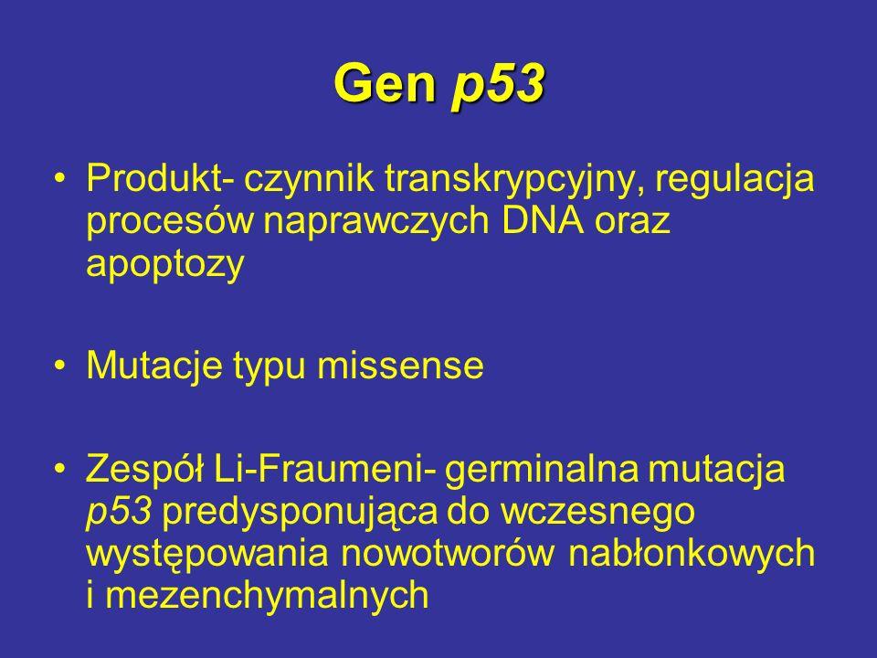 Gen p53 Produkt- czynnik transkrypcyjny, regulacja procesów naprawczych DNA oraz apoptozy. Mutacje typu missense.