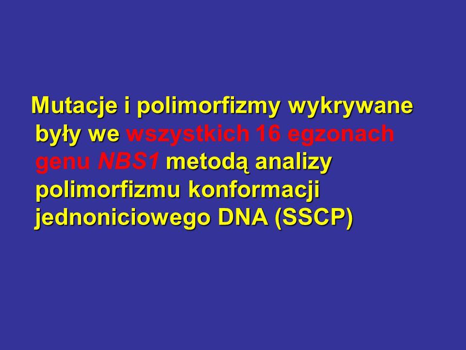 Mutacje i polimorfizmy wykrywane były we wszystkich 16 egzonach genu NBS1 metodą analizy polimorfizmu konformacji jednoniciowego DNA (SSCP)