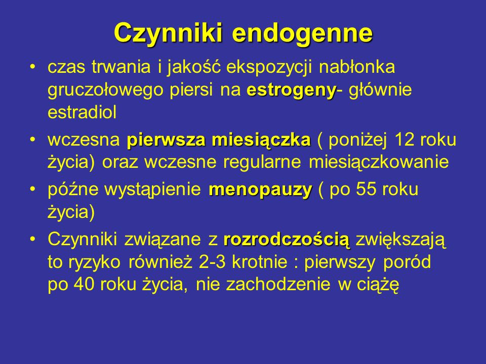 Czynniki endogenne czas trwania i jakość ekspozycji nabłonka gruczołowego piersi na estrogeny- głównie estradiol.