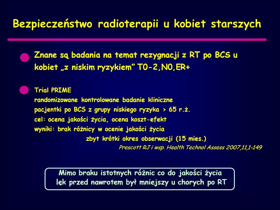 Bezpieczeństwo radioterapii u kobiet starszych