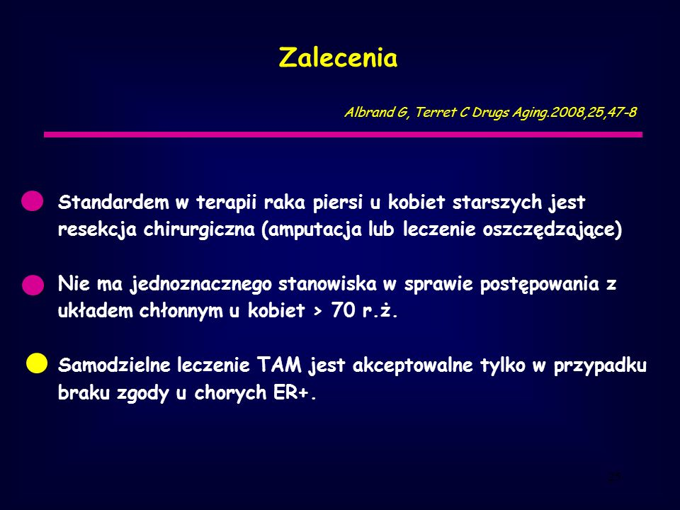 Zalecenia Albrand G, Terret C Drugs Aging.2008,25,47-8.