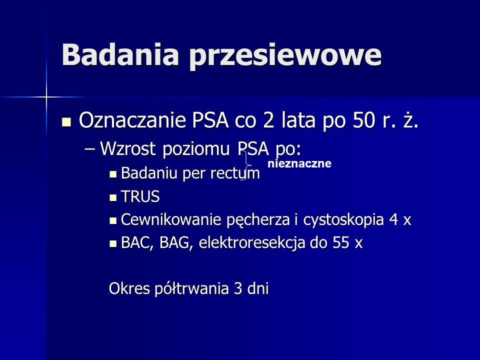 Badania przesiewowe Oznaczanie PSA co 2 lata po 50 r. ż.