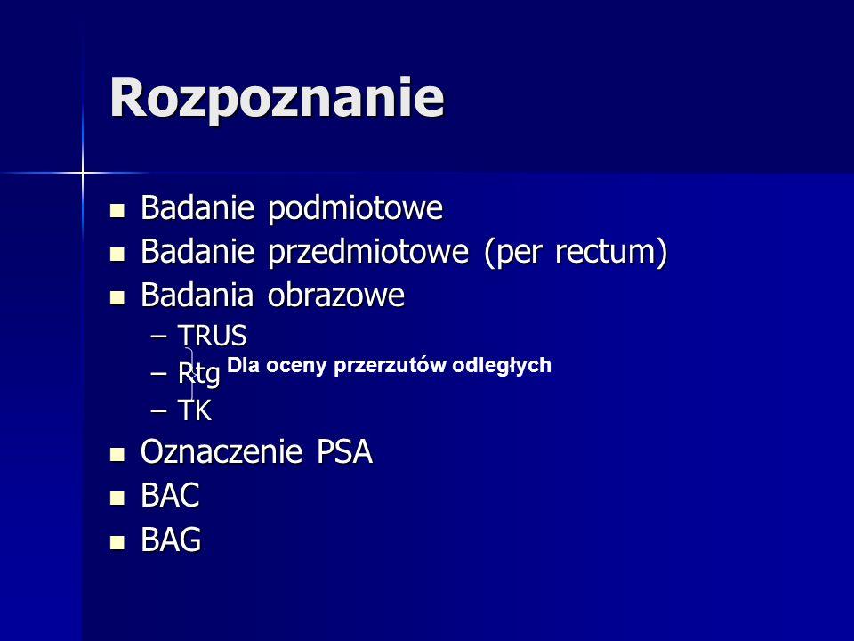 Rozpoznanie Badanie podmiotowe Badanie przedmiotowe (per rectum)