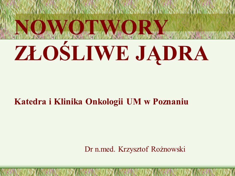 NOWOTWORY ZŁOŚLIWE JĄDRA Katedra i Klinika Onkologii UM w Poznaniu