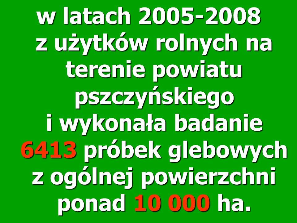 w latach 2005-2008 z użytków rolnych na terenie powiatu pszczyńskiego i wykonała badanie 6413 próbek glebowych z ogólnej powierzchni ponad 10 000 ha.