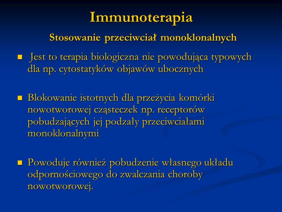 Immunoterapia Stosowanie przeciwciał monoklonalnych