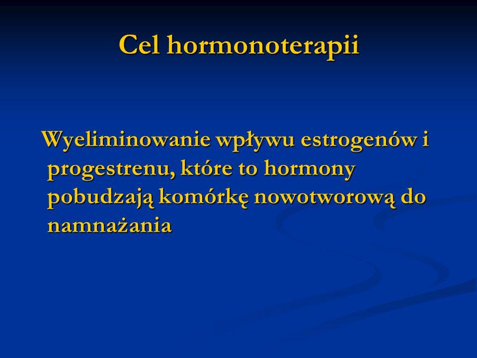 Cel hormonoterapii Wyeliminowanie wpływu estrogenów i progestrenu, które to hormony pobudzają komórkę nowotworową do namnażania.