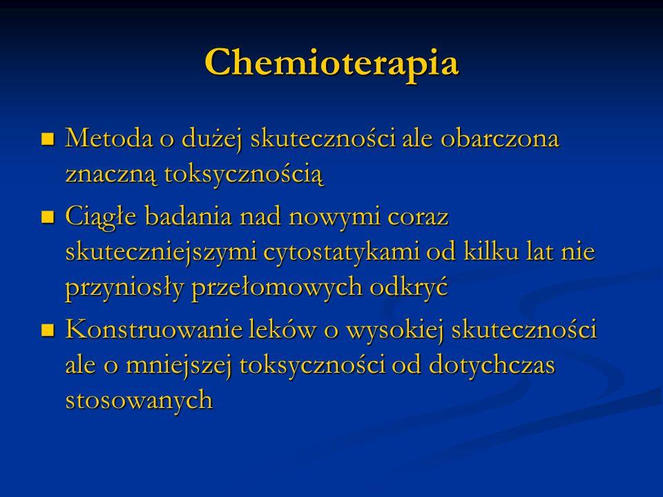 ChemioterapiaMetoda o dużej skuteczności ale obarczona znaczną toksycznością.