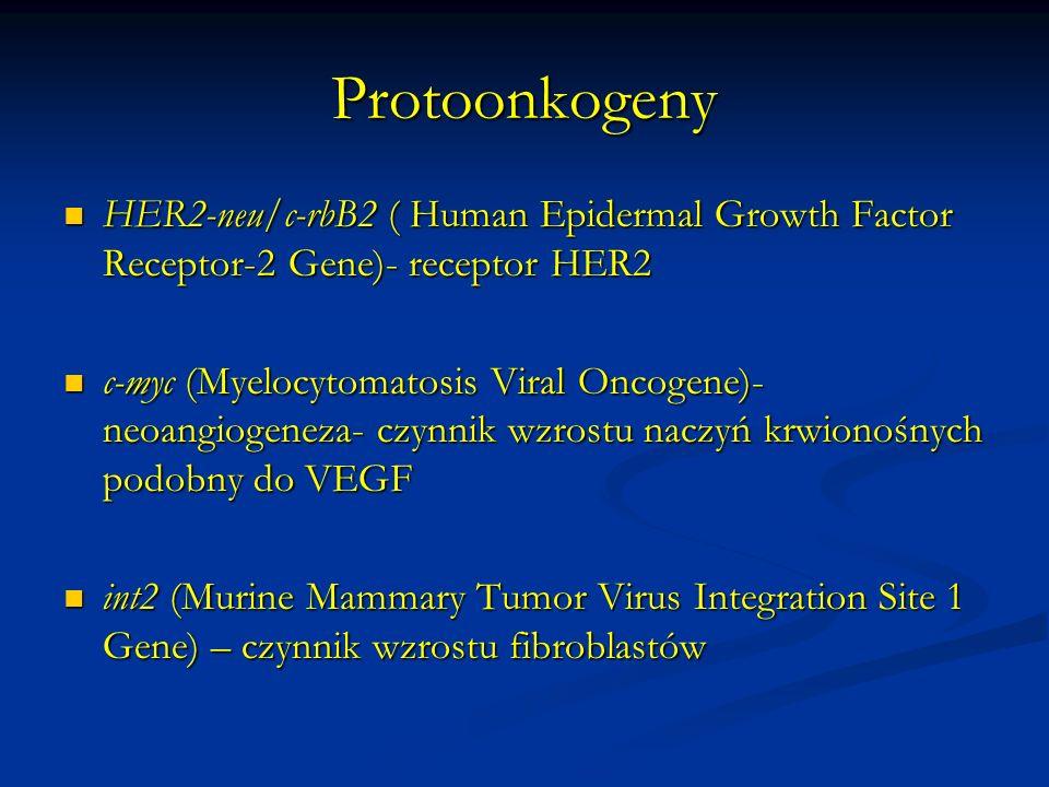 ProtoonkogenyHER2-neu/c-rbB2 ( Human Epidermal Growth Factor Receptor-2 Gene)- receptor HER2.