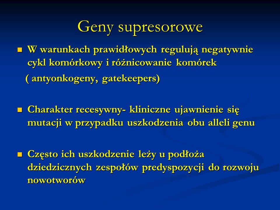 Geny supresoroweW warunkach prawidłowych regulują negatywnie cykl komórkowy i różnicowanie komórek.
