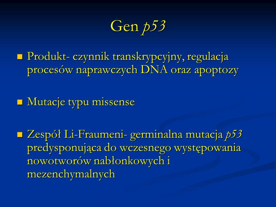 Gen p53Produkt- czynnik transkrypcyjny, regulacja procesów naprawczych DNA oraz apoptozy. Mutacje typu missense.