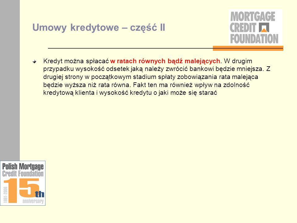 Umowy kredytowe – część II