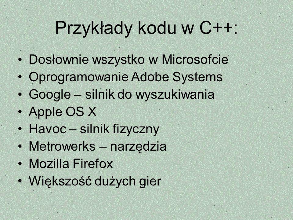 Przykłady kodu w C++: Dosłownie wszystko w Microsofcie