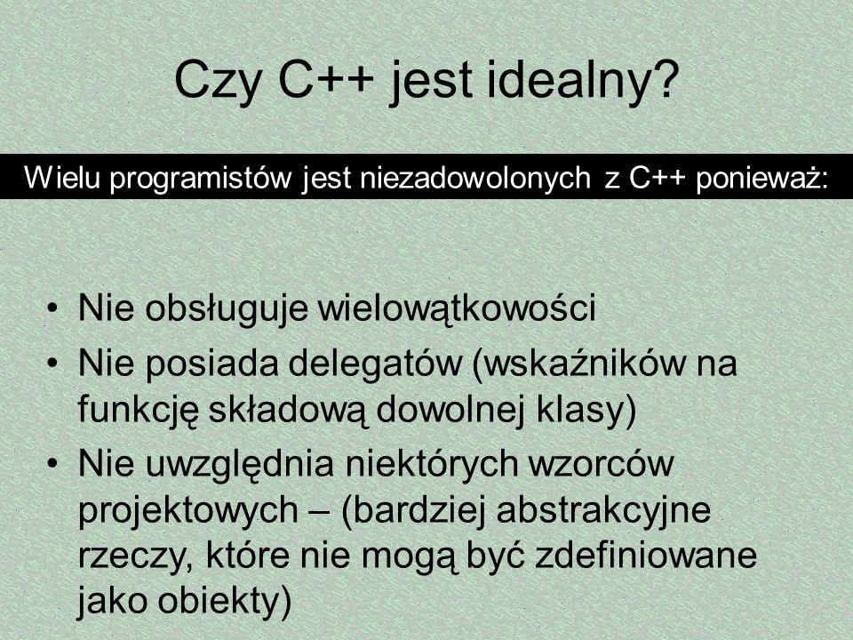 Wielu programistów jest niezadowolonych z C++ ponieważ: