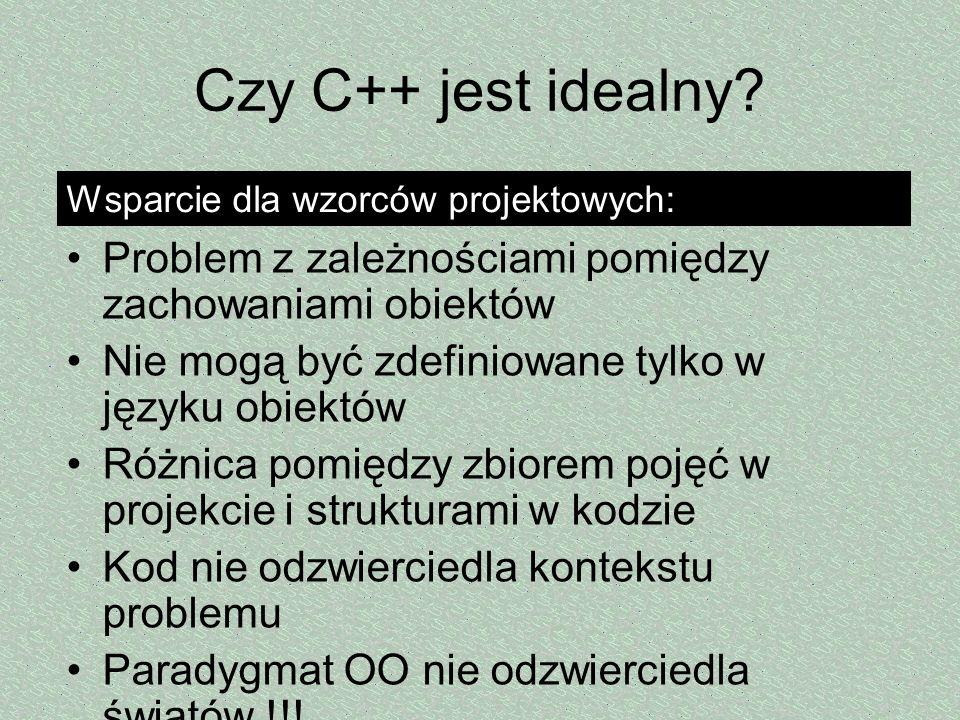 Czy C++ jest idealny Wsparcie dla wzorców projektowych: Problem z zależnościami pomiędzy zachowaniami obiektów.