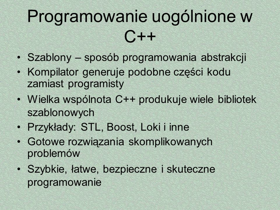 Programowanie uogólnione w C++