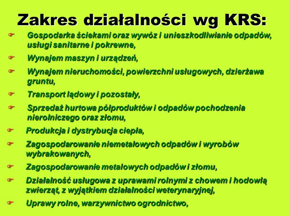 Zakres działalności wg KRS: