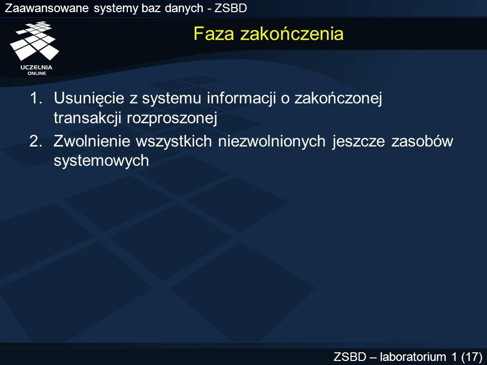 Faza zakończenia Usunięcie z systemu informacji o zakończonej transakcji rozproszonej.