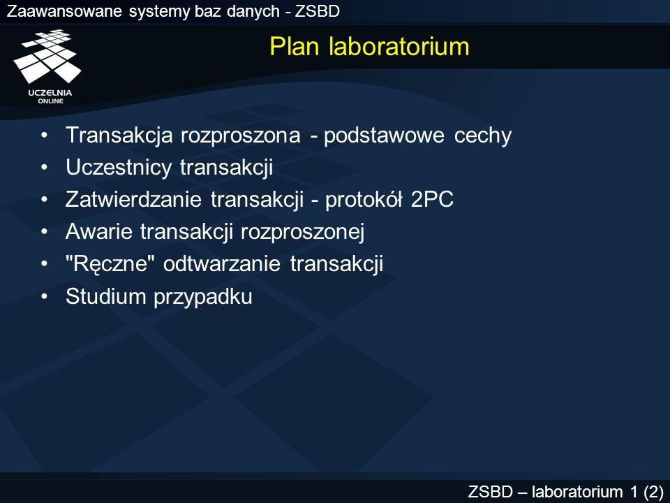 Plan laboratorium Transakcja rozproszona - podstawowe cechy