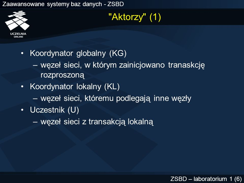 Aktorzy (1) Koordynator globalny (KG)